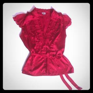 Worthington red satin blouse size XL